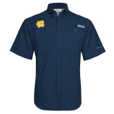 Columbia Tamiami Performance Navy Short Sleeve Shirt-NC Interlocking