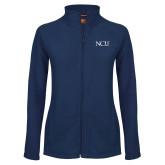 Ladies Fleece Full Zip Navy Jacket-NCU Logo