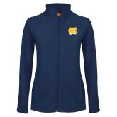 Ladies Fleece Full Zip Navy Jacket-NC Interlocking