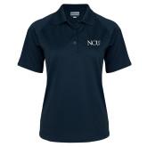 Ladies Navy Textured Saddle Shoulder Polo-NCU Logo