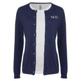Ladies Navy Cardigan-NCU Logo