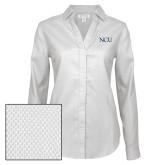 Ladies Red House Diamond Dobby White Long Sleeve Shirt-NCU Logo