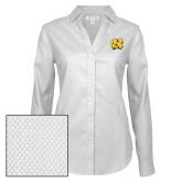 Ladies Red House Diamond Dobby White Long Sleeve Shirt-NC Interlocking