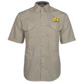 Khaki Short Sleeve Performance Fishing Shirt-NC Interlocking