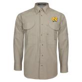 Khaki Long Sleeve Performance Fishing Shirt-NC Interlocking