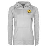 Ladies Sport Wick Stretch Full Zip White Jacket-NC Interlocking