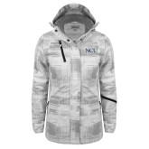 Ladies White Brushstroke Print Insulated Jacket-NCU Logo