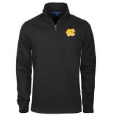 Black Slub Fleece 1/4 Zip Pullover-NC Interlocking