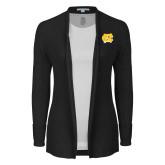 Ladies Black Open Front Cardigan-NC Interlocking