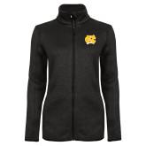 Black Heather Ladies Fleece Jacket-NC Interlocking
