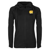 Ladies Sport Wick Stretch Full Zip Black Jacket-NC Interlocking