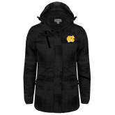 Ladies Black Brushstroke Print Insulated Jacket-NC Interlocking
