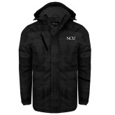 Black Brushstroke Print Insulated Jacket-NCU Logo