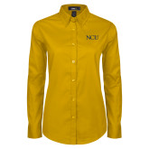 Ladies Gold Twill Button Down Long Sleeve-NCU Logo