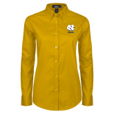 Ladies Gold Twill Button Down Long Sleeve-CN Beacons