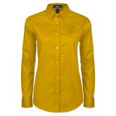 Ladies Gold Twill Button Down Long Sleeve-NC Interlocking