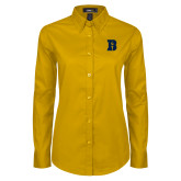 Ladies Gold Twill Button Down Long Sleeve-B Icon