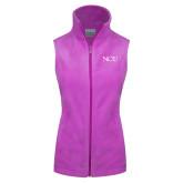 Columbia Ladies Full Zip Lilac Fleece Vest-NCU Logo