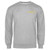Grey Fleece Crew-Bushnell Athletics Wordmark