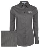 Ladies Grey Tonal Pattern Long Sleeve Shirt-NCU Logo