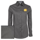 Ladies Grey Tonal Pattern Long Sleeve Shirt-NC Interlocking