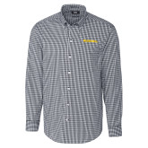 Cutter & Buck Charcoal Stretch Gingham Long Sleeve Shirt-Bushnell Athletics Wordmark