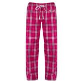Ladies Dark Fuchsia/White Flannel Pajama Pant-NCU Logo
