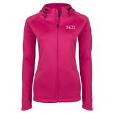 Ladies Tech Fleece Full Zip Hot Pink Hooded Jacket-NCU Logo