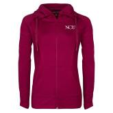 Ladies Sport Wick Stretch Full Zip Deep Berry Jacket-NCU Logo