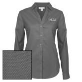 Ladies Red House Diamond Dobby Charcoal Long Sleeve Shirt-NCU Logo