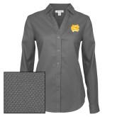Ladies Red House Diamond Dobby Charcoal Long Sleeve Shirt-NC Interlocking
