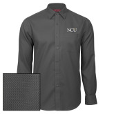 Red House Dark Charcoal Diamond Dobby Long Sleeve Shirt-NCU Logo