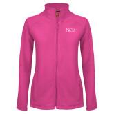 Ladies Fleece Full Zip Raspberry Jacket-NCU Logo