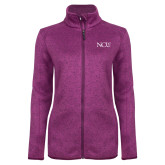 Dark Pink Heather Ladies Fleece Jacket-NCU Logo