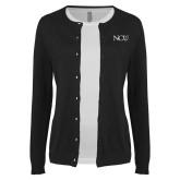 Ladies Black Cardigan-NCU Logo
