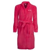 Ladies Pink Raspberry Plush Microfleece Shawl Collar Robe-NCU Logo