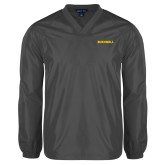 V Neck Charcoal Raglan Windshirt-Bushnell Athletics Wordmark