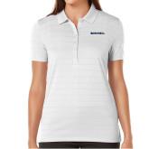 Ladies Callaway Opti Vent White Polo-Bushnell Athletics Wordmark