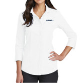 Ladies Red House White 3/4 Sleeve Shirt-Bushnell Athletics Wordmark