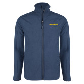 Navy Heather Softshell Jacket-Bushnell Athletics Wordmark