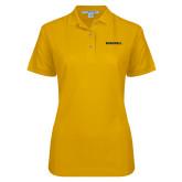 Ladies Easycare Gold Pique Polo-Bushnell Athletics Wordmark