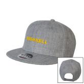 Heather Grey Wool Blend Flat Bill Snapback Hat-Bushnell Athletics Wordmark