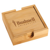 Bamboo Coaster Set-Bushnell University Primary Mark Engraved