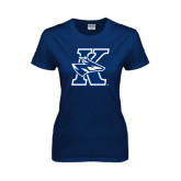 Ladies Navy T Shirt-K Logo