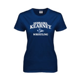 Ladies Navy T Shirt-Wrestling