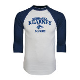 White/Navy Raglan Baseball T-Shirt-Stacked Word Mark