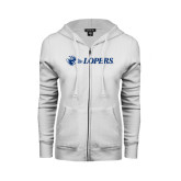 ENZA Ladies White Fleece Full Zip Hoodie-Lopers Flat