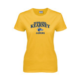Ladies Gold T Shirt-Stacked Word Mark
