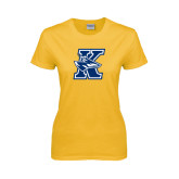 Ladies Gold T Shirt-K Logo
