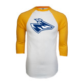 White/Gold Raglan Baseball T-Shirt-Loper Head